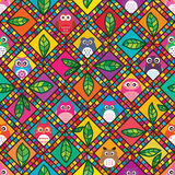 Owl inside diamond shape colorful seamless pattern. This illustration is abstract drawing owl inside diamond shape, the brown owl dont know why outside the Stock Photography