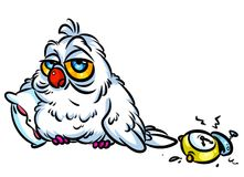 Owl insomnia cartoon illustration Royalty Free Stock Photo