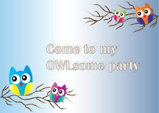Owl invitation. Card for a party Stock Image