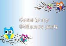 Owl invitation Stock Image