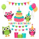 Owl invitations cute celebration cards stock illustration