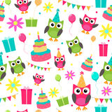 Owl invitations cute celebration cards pattern Stock Image