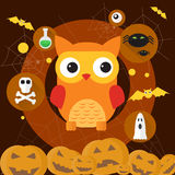 Owl Jack Pumpkin Flat Icon Halloween Illustration de Vecteur