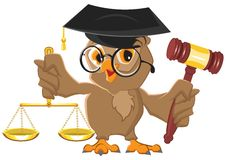 Owl Judge holding gavel and scales Stock Photo