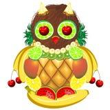 Owl Juicy Fruits Stock Photography