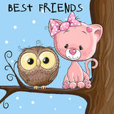 Owl and Kitten. Cute owl and Kitten is sitting on a brunch Royalty Free Stock Images