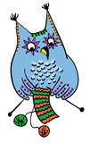 Owl knitting wool, handmade concept Stock Images