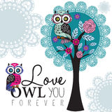 Owl on a lace tree illustration