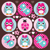 Owl ladybird butterfly vector illustration Stock Images