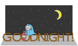 Owl with lamp wishes: `GOOD NIGHT. vector illustration.  royalty free illustration