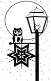 Owl with lantern. Background with owl sitting on the lantern at night Royalty Free Stock Photos