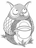 Owl and a large cup. Of coffee Royalty Free Stock Photos