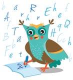 Owl Learn To Write In engraçado um caderno em um fundo branco Fotografia de Stock