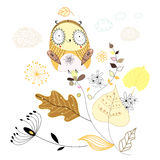 Owl on the leaves. Graphic gay owl on the beautiful leaves on a white background Stock Images