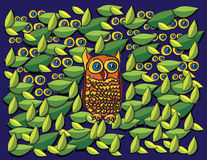 Owl and leaves cartoon Stock Photography