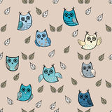 Owl leaves vector seamless pattern. Vector owl. Animals and bird Royalty Free Stock Photography