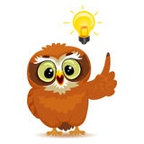 Owl with Light Bulb stock illustration