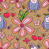 Owl like flower cute seamless pattern Stock Image
