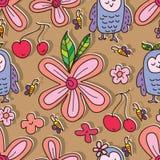 Owl like flower cute seamless pattern Stock Image