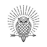 Owl line icon. Owl outline emblem in geometric hipster style with arrow and beams. Vector line icon Royalty Free Stock Photography