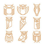 Owl line logos, emblems and labels vector set Royalty Free Stock Image