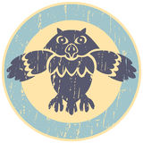 Owl logo. Owl in the center of the circle. Logo or emblem Royalty Free Stock Image
