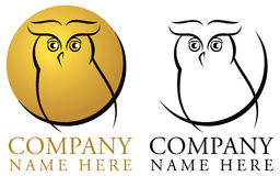 Owl Logo. An owl logo icon in colour and black & white stock illustration
