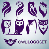 Owl logo set Royalty Free Stock Photography