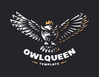 Owl logo - vector illustration. Emblem design royalty free stock image