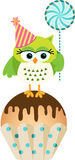 Owl with lollipop and birthday cake Stock Photos