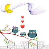 Owl_love. Owl and love Illustrations for selebration  and for your love frends Stock Photo