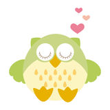 Owl love. Cute owl in love with hearts Stock Photos