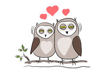 Owl love birds vector Royalty Free Stock Photos
