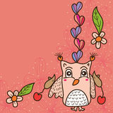 Owl love cute mouse card Royalty Free Stock Image