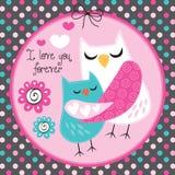 Owl love forever vector illustration. Cute owl love forever vector illustration stock illustration