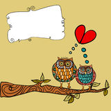 Owl love greeting card Royalty Free Stock Image
