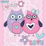 Owl love with lace background vector illustration. Cute owl love with lace background vector illustration Stock Image