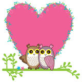 Owl love pair card Royalty Free Stock Image