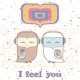 Owl love postcard Stock Image