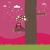 Owl with love umbrella Stock Images