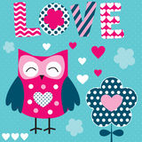 Owl love vector illustration Stock Images