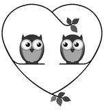 Owl lovers. Owl valentine lovers on a heart branch isolated on white background Royalty Free Stock Photo