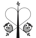 Owl lovers. Owl valentine lovers on a heart tree isolated on white background Royalty Free Stock Image