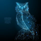 Owl low poly blue. Owl isolated from low poly wireframe on dark background. Wild bird of prey. Vector polygonal image in the form of a starry sky or space stock illustration