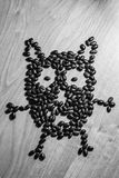 Owl, made from beans Stock Photos