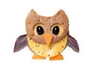 Owl made of bread and cheese. On white background Royalty Free Stock Photos