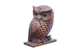 Owl made by brown clay. Royalty Free Stock Photo