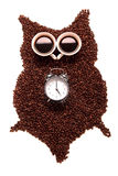 Owl, made of coffee seeds and two caps Royalty Free Stock Photos