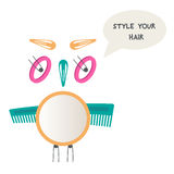 Owl made of hair accessories. Do yourself hairstyle. Mirror, hair pins, hairbrush. stock illustration