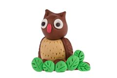 Owl made of plasticine Royalty Free Stock Images